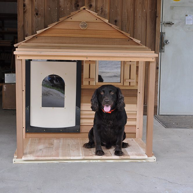 extra-large dog house with porch and deck with black dog
