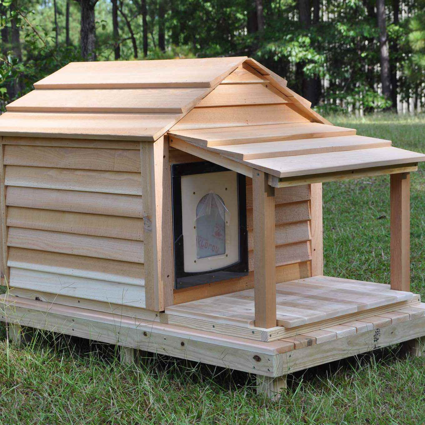 medium dog house with porch and deck, clean-out door and optional seal safe door